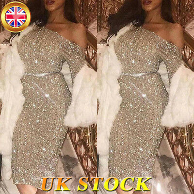 Women Sparkly Sequin One Shoulder Bodycon Dress Evening Cocktail Party Ball Gown