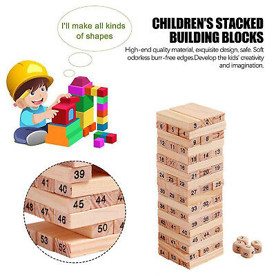 54pcs NEW Wooden Tumbling Tower | Kids Jenga Family Board Fun Games Gifts AU