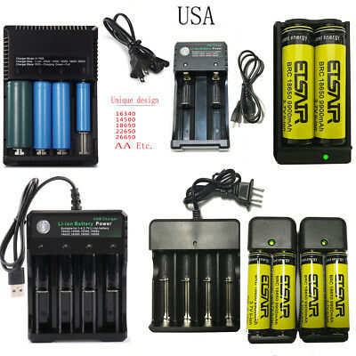 USA 9900mAh 18650 Batteries18650 Rechargeable Battery 3.7V AND Smart Charger