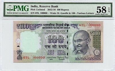 Tt 2012-16 India 100 Rupees Super Special S/n # 100000 With 6Tl Block# Pmg 58Epq