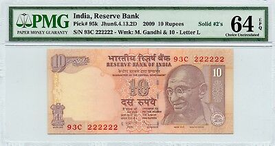 2009 INDIA 10 RUPEES  93C 222222 PMG 64 EPQ CHOICE UNCIRCULATED SOLID 2s  P0177
