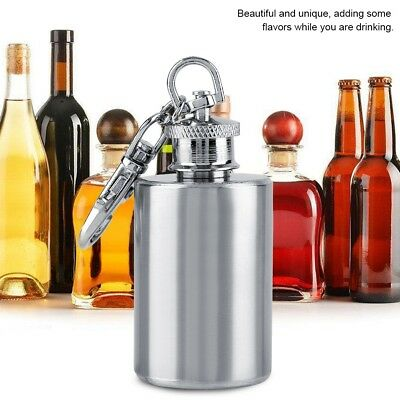 Portable 1oz Mini Stainless Steel Hip Flask Alcohol Flagon Wine Pot with Keyring
