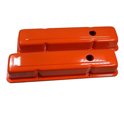 For Small Block Chevy 58-86 Steel Orange Short Valve Cover 283 327 350 400 SBC