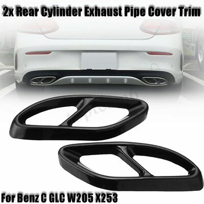 Gloss Black Rear Dual Exhaust Pipe Tip Cover Trim For Benz C GLC W205 X253 2015