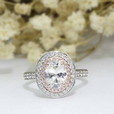 2ct White Oval Cut Diamond & Pink Accents Double Halo Engagement Ring 925 Silver