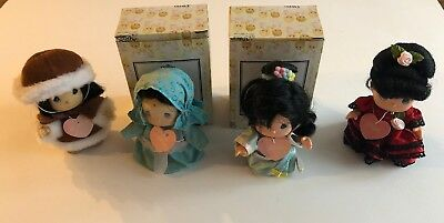 "Vnt Enceno 1994 Precious Moments: World Of Friendship (Babies) Doll: 4"" Set Of 4"