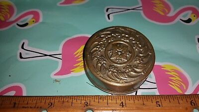 VICTORIAN antique metal folding collapsible cup tumbler goblet embossed top 1897