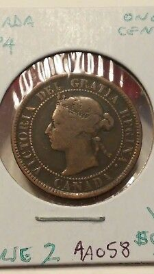 1884 Canada Large Cent Coin Obverse 2 Very Good #AA058