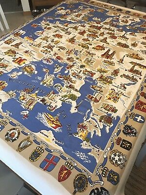 Vintage Souvenir Tablecloth Wall Hanging Europe European Map Coat of Arms