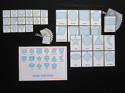 Shapes Cards Pale Blue-PECS/Autism/Choice Board/Dementia/Speech Loss/Visual Aids