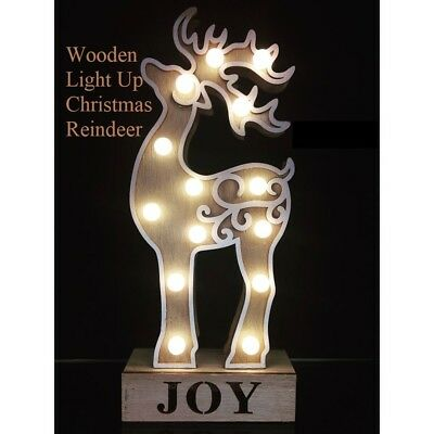 New Light Up Wooden Soft Glow Xmas Reindeer Joy Ornament Battery Operated 33cm