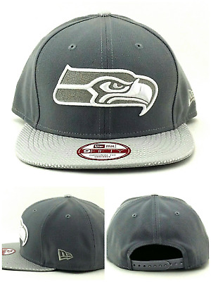 newest 85430 ed60b Seattle Seahawks New Era 9Fifty Tonal Luxe Gray White Silver Snapback Hat  Cap