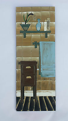 BNWT Hand Painted Glass Picture / Art /Sign Features Bathroom Towel & Cabinet