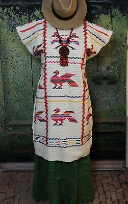 Traditional Hand Woven & Embroidered Chinantec Huipil Oaxaca Mexico Cowgirl Boho