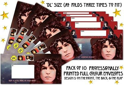 SALE - MARC BOLAN PACK OF 10 x DL PRINTED ENVELOPES - FREE P&P ON EXTRA PACKS