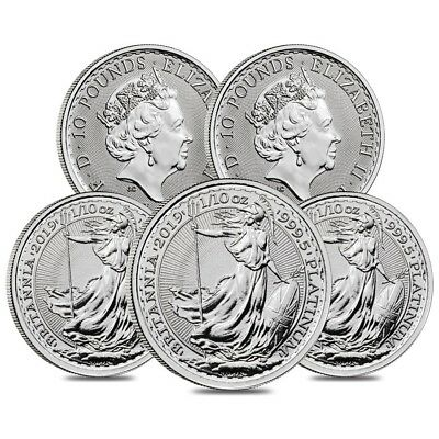 Lot of 5 - 2019 Great Britain 1/10 oz Platinum Britannia Coin .9995 Fine BU