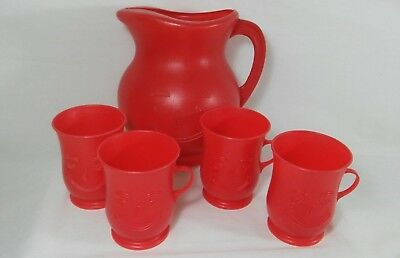 Vintage RED Kool - Aid Man Pitcher And 4 RED Piece Cup Set