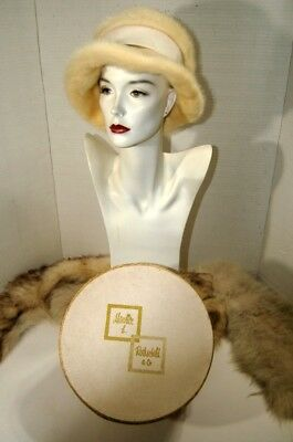 Vintage Retro Marshall Field Fur Hat Womens Off White with Box