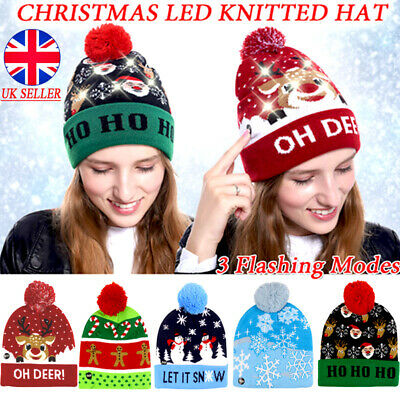 Mens Fisherman beanie Winter hats Ladies Knitted With LED Head Light Lamp Torch