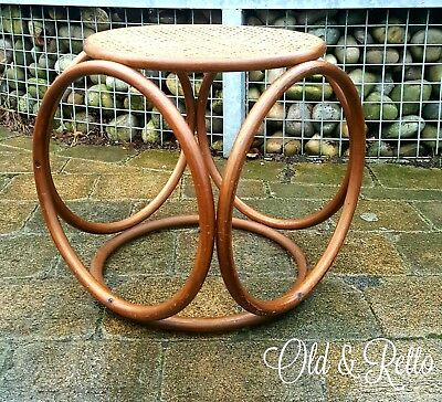 Rare iconic Mid century Vintage Bentwood & Cane Thonet Footstool  Side Table