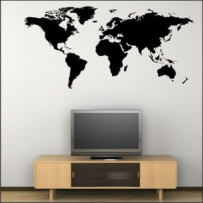 MAP OF THE WORLD wall art sticker office bedroom large vinyl decal