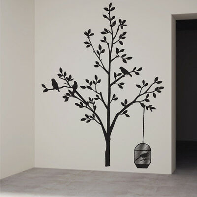 BIRD TREE flower leaf window family vinyl large bedroom decals wall art stickers