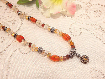 "Beaded Pendant Necklace Amber & Clear Beads Silver Medallion 22""-25"" VTG Jewelry"