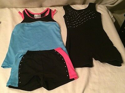 272eb40d28d8 DANSKIN Freestyle Girls Dance Gymnastics Leotard Biketard Sz 6/6x 2 piece  EUC