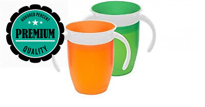Munchkin Miracle 360 Trainer Cup - Green & Orange (2 Pack)