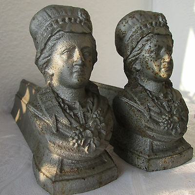 2x ANTIQUE LARGE CAST IRON Bust Fireplace Andirons Fire-Dogs, set
