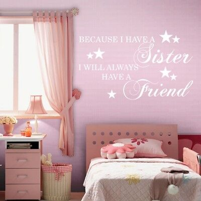 BECAUSE I HAVE A SISTER wall quote nursery baby children brother sticker decal