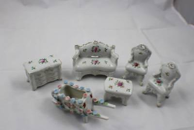 7 piece Vintage Porcelain Ceramic Doll House Furniture Floral Made in Japan