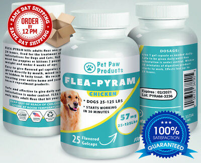 25 CAPSULES Flea Killer For DOGS 25-125Lbs 57Mg CHICKEN Flavored SAME DAY Ship