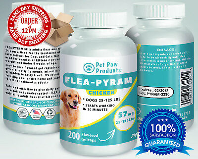 200 CAPSULES Flea Killer For DOGS 25-125Lbs 57Mg CHICKEN Flavored SAME DAY Ship