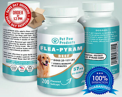 200 CAPSULES Flea Killer For DOGS 25-125 Lbs. 57 Mg BEEF Flavored Same Day Ship!