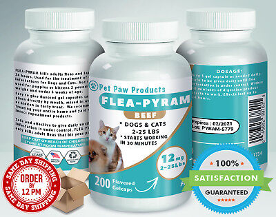 200 CAPSULES Flea Killer For DOGS and CATS 2-25 Lbs 12 Mg BEEF Flavored