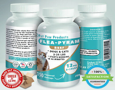 150 CAPSULES Flea Killer For DOGS and CATS 2-25 Lbs 12 Mg BEEF Flavored