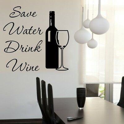 SAVE WATER DRINK WINE wall sticker funny kitchen decal quote stickers art vinyl