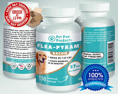 150 CAPSULES Flea Killer For DOGS 25-125Lbs 57 Mg BACON Flavored SAME DAY Ship!