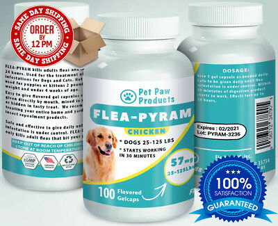 100 CAPSULES Flea Killer For DOGS 25-125Lbs 57Mg CHICKEN Flavored SAME DAY Ship