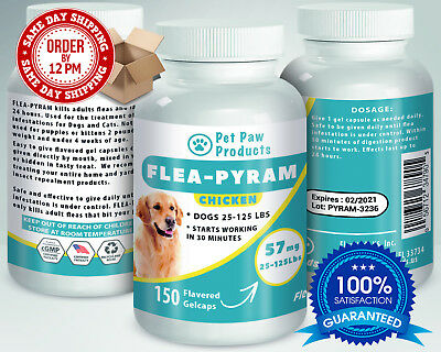 150 CAPSULES Flea Killer For DOGS 25-125Lbs 57Mg CHICKEN Flavored SAME DAY Ship