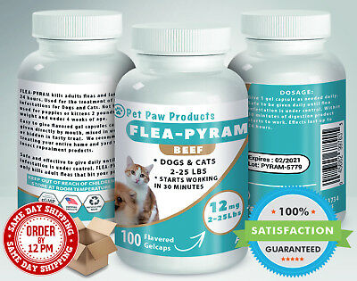 100 CAPSULES Flea Killer For DOGS and CATS 2-25 Lbs 12 Mg BEEF Flavored