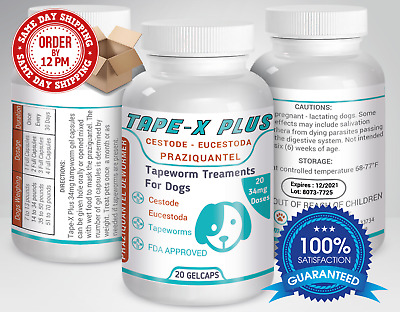 Tape-X Plus Dewormer 20 GelCaps Tapeworm For Dogs Similar to Tradewinds