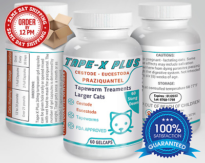 Tape-X Plus Dewormer 60 GelCaps Tapeworm For Larger Cats Similar to Tradewinds