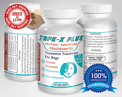 Tape-X Plus Dewormer 40 GelCaps Tapeworm For Dogs Similar to Tradewinds
