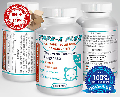 Tape-X Plus Dewormer 80 GelCaps Tapeworm For Larger Cats Similar to Tradewinds