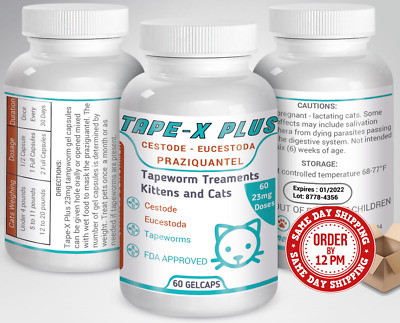 Tape-X Plus Dewormer 60 GelCaps Tapeworm For Cats Similar to Tradewinds Droncit