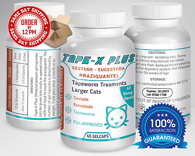 Tape-X Plus Dewormer 40 GelCaps Tapeworm For Larger Cats Similar to Tradewinds