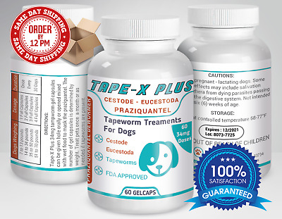 Tape-X Plus Dewormer 60 GelCaps Tapeworm For Dogs Similar to Tradewinds
