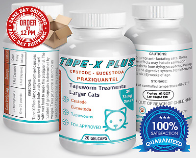 Tape-X Plus Dewormer 20 GelCaps Tapeworm For Larger Cats Similar to Tradewinds